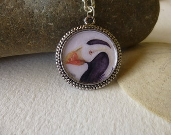Tufted Puffin handmade necklace with watercolor art print in a circular pendant