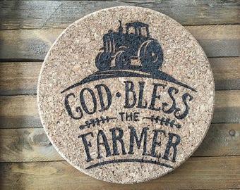 God Bless the Farmer Trivet, Camper Hotplate, Cork Trivet, Hotplate, Cork Hotplate, Cork Board, Round Hotplate, Hot Pad, Hotplate Trivet