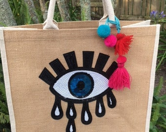 Evil Eye Jute Eco Tote Bag - Large eye