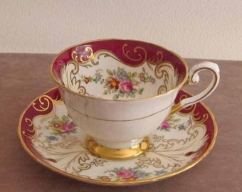 Burgundy and White Cup and Saucer with Gold Gilt by English Maker Tuscan 1950's