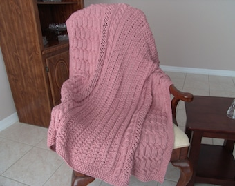 Knitted Afghan in Victorian Rose