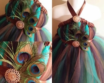 Peacock Tutu Dress with Peacock Feathers