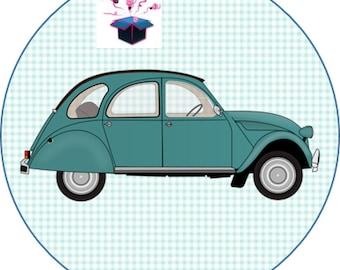 1 cabochon clear 20mm 2cv car theme