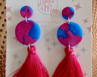 Blueberry Tassel Circle Dangle Earrings