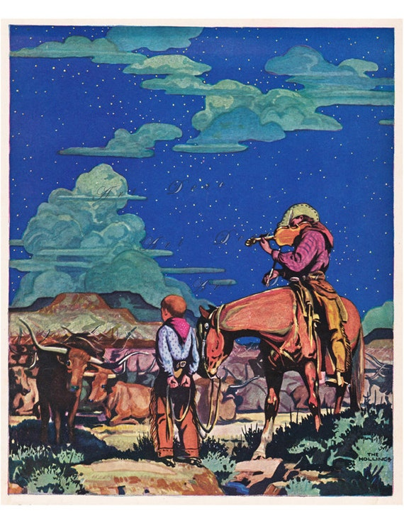 Vintage Western Print Cowboys And A Night Sky On The