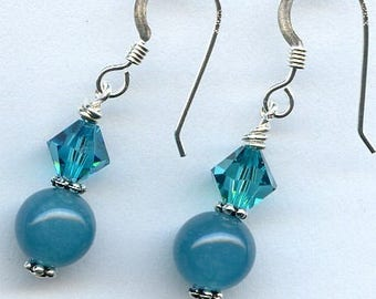 Chalcedony and Swarovski Sterling Silver Earrings