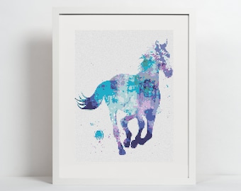 Watercolor Horse Cross Stitch Pattern Watercolor Animal Cross Stitch Modern Embroidery Art Blue Horse Colorful Design counted cross stitch