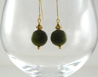 Jade Earrings Dark Green Nephrite Jade Earrings Green Jade Gemstone Earrings Nephrite Jade Drop Earrings Gold Jade Drops