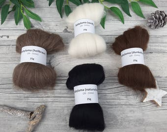 Baby Lama Sampler Pack - natural spinning fibers, mini-rovings for spinning, undyed baby lama – 3,53oz