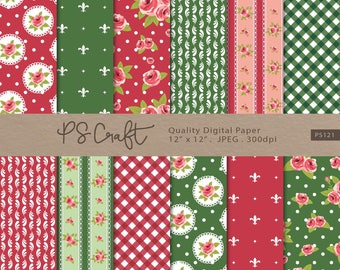 Shabby Chic Digital Paper, SEAMLESS Red and Green Shabby Chic Digital Papers, Shabby Chic Digital Background, Roses