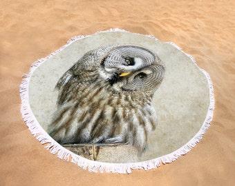 Owl, Great Grey Owl Beach Towel, Large Round Beach Towel, Picnic Blanket, Girlfriend Gift, Custom Beach Towel, Beach Blanket