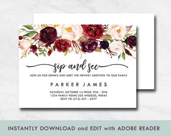 Fall sip and see etsy floral sip and see invitation rustic sip and see invitation fall baby shower invitation filmwisefo Gallery