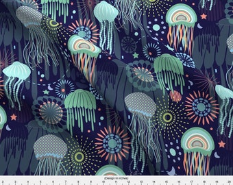 Jellyfish Fabric - Sparkling Jellies By Demigoutte - Rainbow Under the Sea Creatures Animal Cotton Fabric By The Yard With Spoonflower