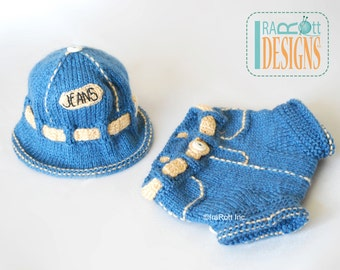 SALE - Jeans Inspired Denim Sun Hat and Shorts Set for Newborns - READY to SHIP