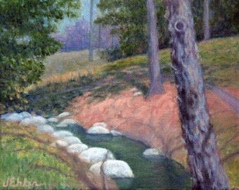 "8x10"" Creek at Duke Gardens, Impressionistic oil painting"