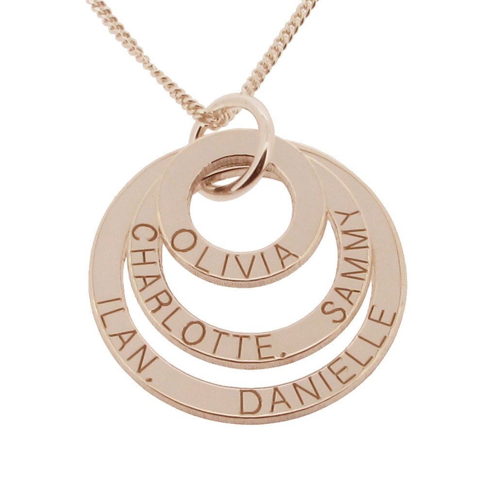 Personalised family name necklace 9ct rose gold plated on zoom aloadofball Choice Image