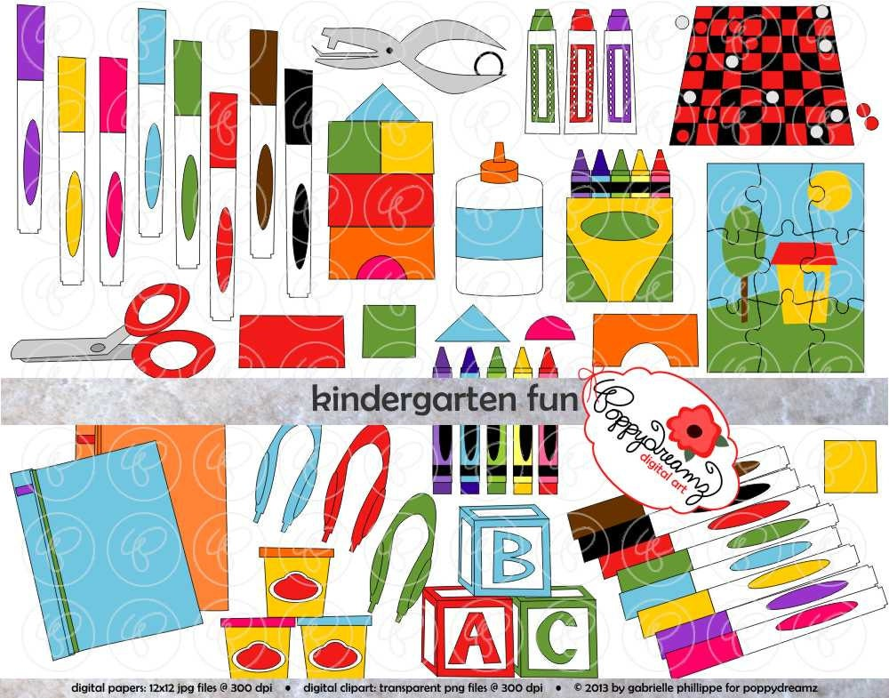 Kindergarten Fun School Supply Clipart 300 Dpi Transparent
