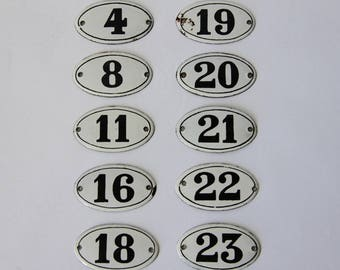 French Antique  Enamel Numbers Loft Living, Furniture Hardware, Antique oval Enamel Number Plate