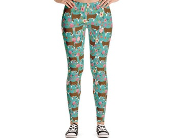 Hereford Cattle Floral Leggings - Turquoise