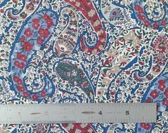 REMNANT SALE Liberty London Burton D Burgundy Blue Beige Lawn Fabric