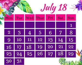 July 2018 Printable Calendar A4