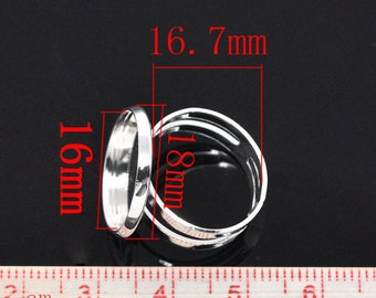 Set of 10 blank color rings silver 16 mm cabochons