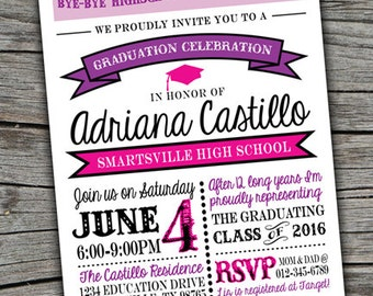 Grad party etsy high school graduation invite grad party invitation grad theme printable invitation digital graduation filmwisefo