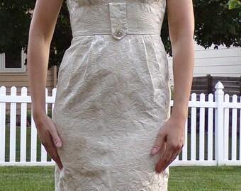 IVORY JACQUARD wiggle DRESS vintage 1960's 60's xs S petite