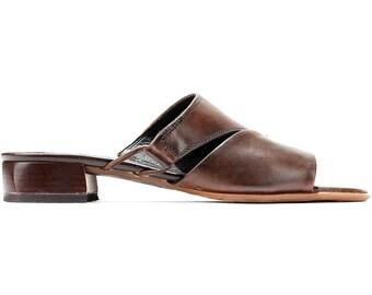 US size 8 Soft Leather Mules Low Heel 90s Brown Retro Mule Sandals Open Toe Asymmetric Summer Shoes Wide Fit Flexible Sole. Eur 38.5 Uk 5.5