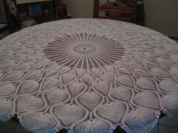 Ronda mantel piña diseño mano Crochet 62 pulgadas.