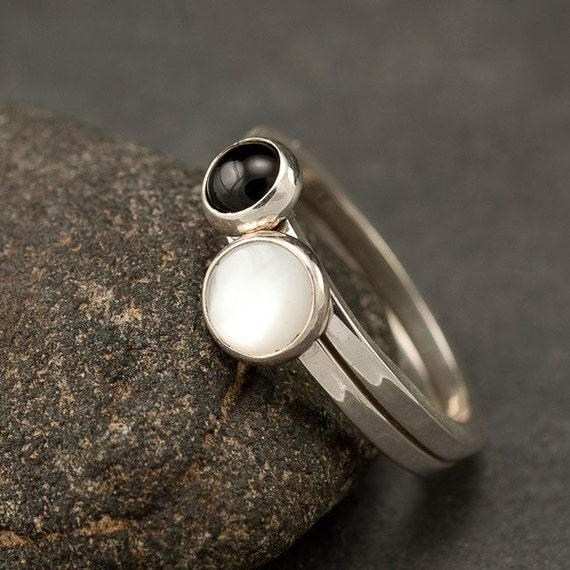 Stackable Rings- Stacking Ring Set - Sterling Silver Rings- Multistone Stacking Rings, Pearl ring, Black Onyx ring