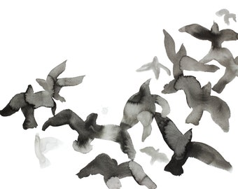 birds in flight no. 4 . giclee fine art print of watercolor