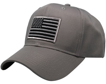 Subdued Grey American Flag Embroidered Iron On Patch Ball Cap - 2 Colors