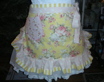 Womens Aprons - Aprons with Pink Roses - Handmade Aprons - Yellow Rose Aprons - Shabby Chic Aprons - Annies Attic Aprons - Handmade Aprons