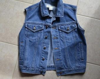 80s 90s Vintage Denim Vest Jean Jacket vest Medium Large Blue Denim Jumper Vest