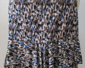 Geometric pattern print skirt or tube dress in brown,blue and black color plus made in usa (v61)