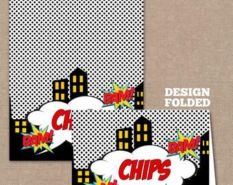 INSTANT DOWNLOAD Superhero Food Labels Buffet Tent Cards