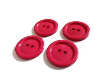 Pink plastic sewing buttons - set of 4 vintage craft buttons 29mm