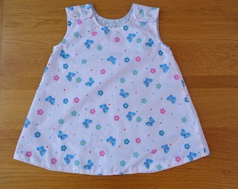 Blue Butterfly Reversible Girl's Dress. 1 to 2 yrs