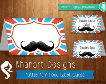 Instant Download: Mustache Food Labels (Orange / Teal)
