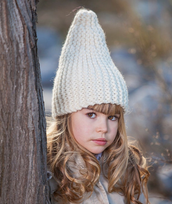 KNITTING PATTERN White Gnome Hat, pattern knitted hat in garter ...