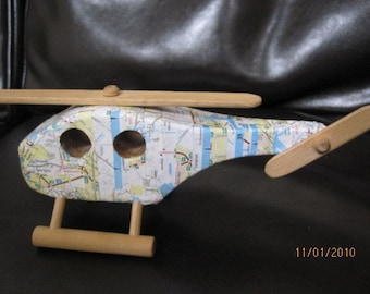 Recycled wood toy handmade Helicopter collage recycled map assemblage sculpture