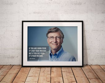 Bill Gates, Quote poster, Typographic print, Inpirational Genius Quote, Sizes A4-A0