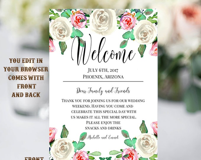Ivory Dusty Pink Floral Wedding Welcome Note Template, Welcome Note, Wedding Template, Welcome Bag Letter, Hotel Card, Itinerary, Agenda
