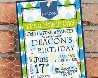 Golf Birthday Party Invitation - Golf First Birthday Party Invitation - Par-Tee - Hole in One - Golf Theme - Customize - Printable - 5x7