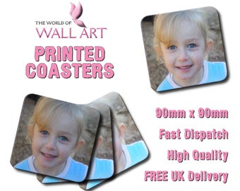 Set of 4 Printed Coasters, Any Image, Any Text, Full Colour, Personalised