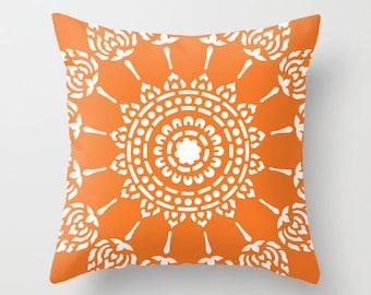 Geometric Mandala Pillow Cover - Tangerine Orange -  Modern Home Decor - includes insert