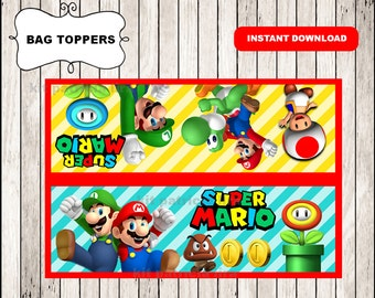 Super Mario Bros bags toppers instant download , Super Mario Bros toppers, Printable Mario Bros party bags toppers