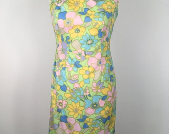 60's 70's 90's Chinese floral cheongasm dress size 8/10  spring summer