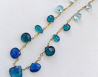 Lagoon Sunrise Briolette Necklace with Blue Kyanite, Blue Topaz